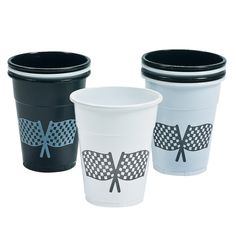 Disposable Plastic Cups With Checkered Flag Design - OrientalTrading.com
