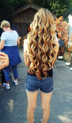 Long hair, curled. Wish I had