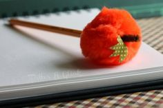 Pom-Pom Pumpkin Pencil Topper--A perfect non-candy treat for a class Halloween party!
