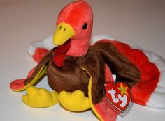 Gobbles 1997 Ty Beanie Babie 8in Thanksgiving Turkey 3 up Boys Girls 4034  61190802311d