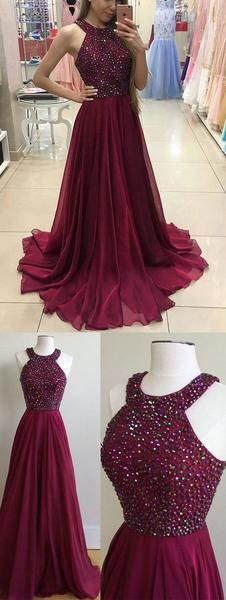 2017 Vintage Halter Crystals Chiffon Long Prom Dress Elegant Burgundy Formal Gown, Wedding party Evening Dress