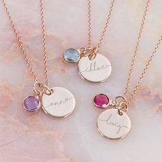 I've just found Esme Personalised Initial Birthstone Necklace. The Esme Personalised Initial Birthstone Necklace is a beautiful silver or rose gold chain and disc, personalised with a gorgeous name of your choice. Birthstone Charms, Birthstone Necklace, Gold Necklace, Necklace Ideas, Pendant Necklace, Sterling Necklaces, Jewelry Necklaces, Initial Necklace Gold, Initial Jewelry
