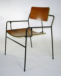 Arthur Umanoff; Enameled Steel and Plywood Swing Armchair for Elton, 1950s.
