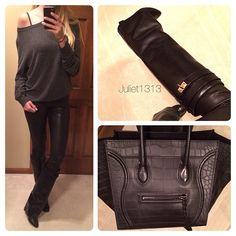 .@Rachael Branson | Tonight's Look #Wildfox Sweatshirt #Helmut_Lang Leather Leggings (Favorite le...
