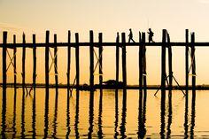 U-Bein bridge near Mandalay in Myanmar.  by 'Colsteel'