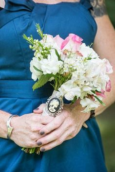 Vintage Navy & Ivory DIY Wedding - Bridesmaids bouquets with vintage brooches