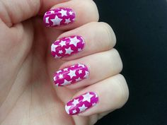 Magenta with white nail stamp