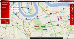 Virgin Money London Marathon map - like how you select a pin and multiple options comes up