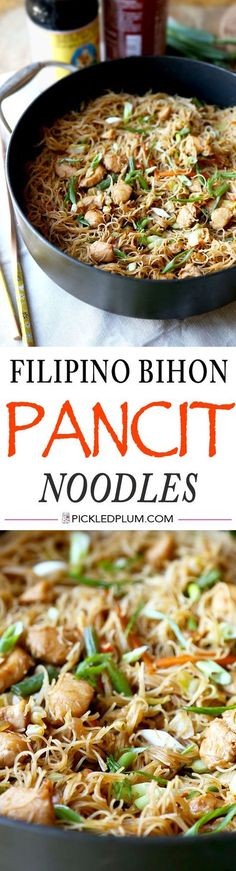 Filipino Bihon Pancit Noodles Recipe - Sweet and savory rice noodles tossed ina a simple soy sauce and cooked with chicken and veggies. Easy recipe ready in less than 25 minutes! | pickledplum.com