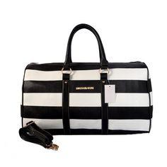Mk Bags Michael Kors Striped Travel Medium Black White Satchels - Another! Mk Handbags, Guess Handbags, Handbags Online, Handbags On Sale, Cheap Handbags, Leather Handbags, Discount Handbags, Replica Handbags, Cheap Michael Kors