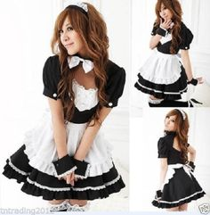 Lovely-halloween-Costume-Black-White-French-Maid-Fancy-Outfit-Headband-Sleeves