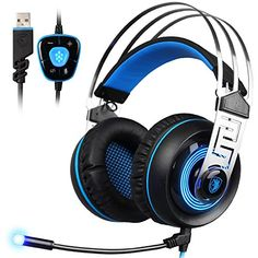 Acekool SADES A7 71 Virtual Sound USB Gaming Headset with MIC LED Linght Sound Card Chip Black Blue -- Click image for more details.Note:It is affiliate link to Amazon.