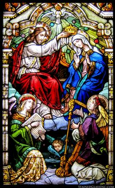 """""""Hail, Holy Queen"""" Religious Stained Glass Window"""