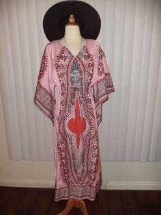 SOLD - Vtg Boho Hippie Pink Ethnic Print Cochella Gypsy Caftan Maxi Dress Sz S M L by casadelagitana on Etsy