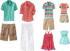 Orange and aqua, family portrait outfits. For beach? created by maryrushing on Polyvore