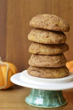 A thick and soft snickerdoodle made extra special with the addition of pumpkin and spices #pumpkin #cookie #snickerdoodle