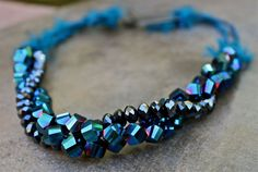 Royal Blue Crystal Statement Necklace