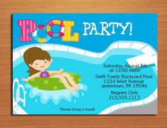 Free Printable Birthday Pool Party Invitations Templates – InviteTown