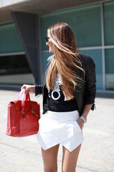 zara skort with black leather jacket