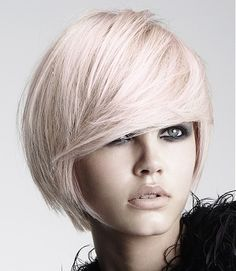 A short blonde straight Multi-Tonal messy Rock-Chick hairstyle by HOB Salons