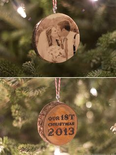 See how easy it is to create these photo Christmas ornaments from wood slices! mountainmodernlife.com