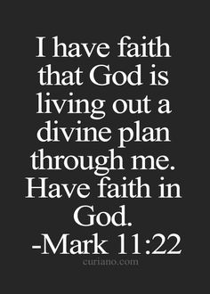 I have faith that God is living out a divine plan through me. Have faith in God. Mark 11:22
