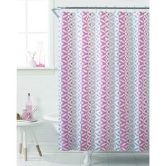 """Victoria Classics 72"""" x72"""" Coral/Grey Amira Sheena PEVA Shower Curtain ($5.99) ❤ liked on Polyvore featuring home, bed & bath, bath, shower curtains, pink, coral shower curtains, pink shower curtains, victoria classics, gray shower curtains and grey shower curtains"""
