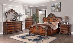 """CM7183 4 pc Canora grey ortiz rosewood elegant european style antique dark oak finish wood queen bedroom set with ornamental cap headboard and footboard. This set features an ornamental style headboard and footboard with stylish detail . This set includes the Queen bed , one nightstand, Dresser, mirror. Additional pieces also available separately. Queen bed measures 88"""" x 78"""" x 72"""" H. Nightstand measures 34"""" x 19 7/8"""" x 32 1/4"""" H. Dresser measures 60... Queen Bedroom, Queen Size Bedding, Bedroom Sets, Furniture Removal, Furniture Styles, Victorian Bedroom Furniture Sets, Local Furniture Stores, Wood Detail, Traditional Bedroom"""