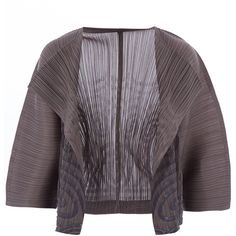 Pleats Please Issey Miyake Dark Grey Jomon Stamp Jacket (£280) ❤ liked on Polyvore featuring outerwear, jackets, formal evening jackets, formal jackets, open front jacket, pattern jacket and evening jackets