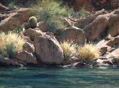 "Matt Smith  The shoreline at Canyon Lake. 12""x16""."