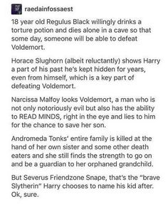Narcissa people! she cared more about the safety of her family IN EVERY BOOK SHE IS FEATURED IN than any kind of war or cause! for her, the love for her family was the most important thing of ALL!!!