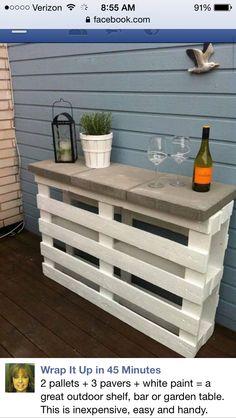 Pallet table for outside cheap good idea!!