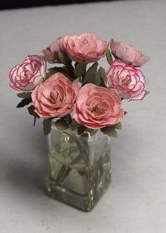 Dollhouse Miniature Pink Rose Floral Arrangement.