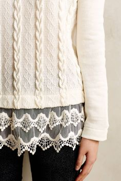 Lace-Dipped Pullover - anthropologie.com