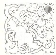 Rose and decorative cutwork Cutwork Embroidery, White Embroidery, Embroidery Stitches, Embroidery Patterns, Quilt Patterns, Machine Embroidery, Paper Embroidery, Colouring Pages, Coloring Books