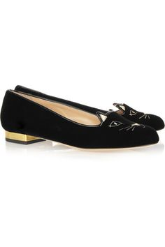 Gold leather-covered heel measures approximately 10mm/ 0.5 inches Black velvet Slip on Come with an adhesive Polaroid picture which can be placed on the outside of your shoe box