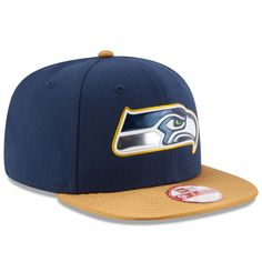 4e1cee3f19001 Men s New Era College Navy Gold Seattle Seahawks Gold Collection Original  Fit 9FIFTY Snapback Adjustable Hat