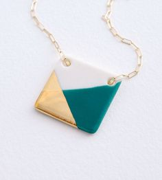 large square porcelain necklace golddipped por ashjewelrystudio