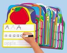 Write & Wipe Alphabet Practice Cards. Center could print something like this on card stock and laminate