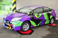 I have been telling my husband we should paint our dark grey Prius a brighter color. I was thinking orange or yellow, but this would be awesome! Scion Cars, Diesel, Car Colors, Toyota Prius, Automotive Art, Love Car, Car Wrap, Car Humor, Future Car