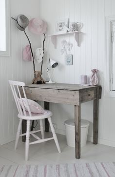 Mias Interiør / New Room Interior: Madelén sitt rom Home Office Inspiration, Room Inspiration, Girls Bedroom, Bedroom Decor, Decor Room, Girl Desk, Workspace Design, Kids Decor, Home Decor