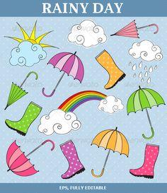 Rainy Day Vector Set