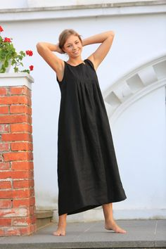 This cosy youthful natural linen dress will impart the felling of freedom and original style for every women who will wear it. The dress is exceptionally comfortable, made from the natural Lithuanian linen. Each dress is individually cut and sewn for you only. We hope this dress will be