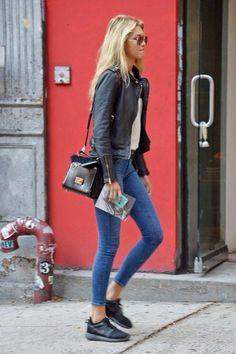 jeans e couro