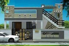 elevations of independent houses માટે છબી પરિણામ House Front Wall Design, House Outer Design, Single Floor House Design, House Outside Design, Village House Design, Bungalow House Design, Front Design, Building Elevation, House Elevation