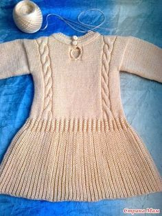 stranamam.ru Baby Girl Cardigans, Knit Baby Sweaters, Baby Girl Dresses, Knitted Baby Outfits, Knit Baby Dress, Lace Knitting Patterns, Knitting Designs, Knitting For Kids, Baby Knitting