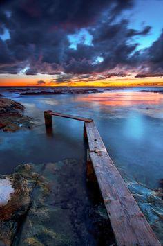 Great sunrise in Ancona, Italy.