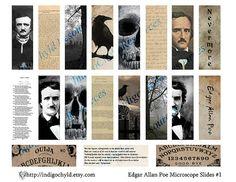 Items similar to Poe Microslide Digital Collage Sheet JPG on Etsy Microscope Slides, Edgar Allen Poe, Collage Sheet, Digital Collage, Crow, Unique Jewelry, Etsy, Vintage, Raven