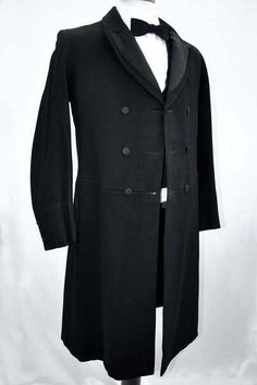 Men's Antique Victorian Wool Frock Coat Formal Dress Coat Men's Antique Victorian Heavyweight Black Wool Prince Albert Double Breasted Frock Coat 38 Chest - £220.00 : Vintage Vampalicous, Vintage antique and preloved clothing for women and chaps - www.vampalicious....
