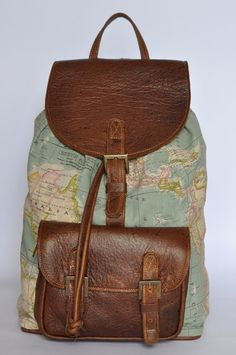 Genuine Leather and World Map Atlas Print Backpack